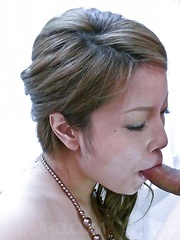 Tsubasa Tamaki Asian takes dress off while giving strong blowjob