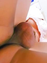 Akina Hara Asian has hairy fish taco licked and roughly fucked