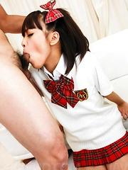 Rin Yuzuki Asian in uniform sucks tools and gets dildo in asshole