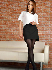 Rina Itoh Asian on heels and sexy office outfit is ready for job