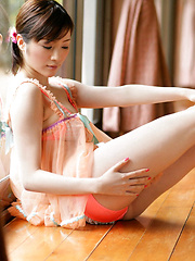 Yuuri Morishita Asian in fluffy lingerie plays with her sexy legs