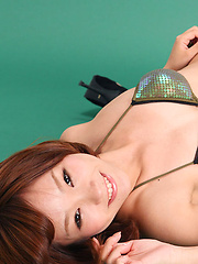 Ichika Nishimura Asian in bath suit shows body in stretching