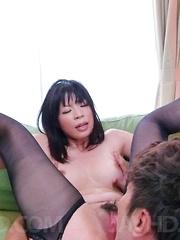 Saki Aoyama Asian has beaver fucked with tongue and phallus