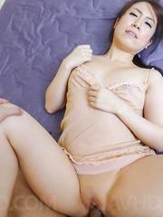 Sakura Ooba Asian with big oiled behind is screwed in dark pussy