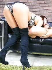 Satsuki Aoyama in long boots shows hot box and sucks shlongs