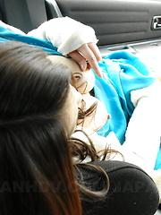 Hot arousing Yu Yamashita gives head in car