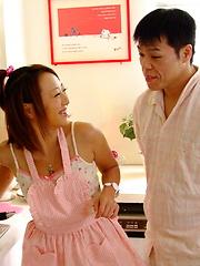 Arousing You Shiraishi gives head in kitchen