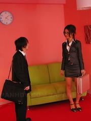 Hot secretary Julia Nanase gets banged hard