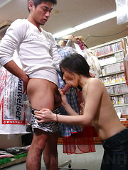 Sexy Ryo gives blowjob in public on her knees