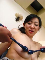 Brunette maid Emiko Koike pleases two dicks