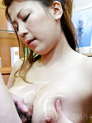 Yuki Aida Asian gets phallus and sperm on her juicy bazoom bas