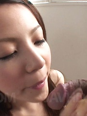 Rika Koizumi Asian walks with skilled tongue all over hard dong
