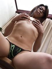 Mizuki Ogawa Asian with specs sucks boner and collects sperm
