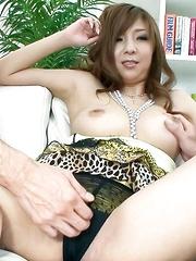Hinano Asain cupcake sucks two boners she has tits rubbed with