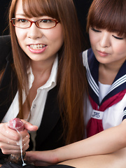 Imai Meril and Kai Miharu handjob