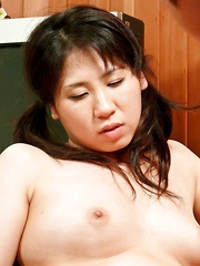 Emiri Takeuchi Asian has vagina rubbed, fingered and screwed