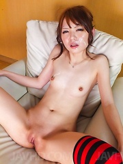 Aya Eikura in sexy lingerie licks two dongs and gets cum on face