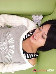 Cute looking Japanese slut sucks a big dick