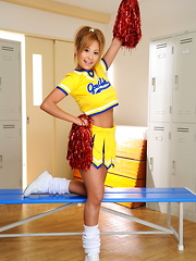 Slutty cheerleader Yui Aoyama shows her tits