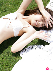 Rola Chen Asian takes clothes off under umbrella in the park