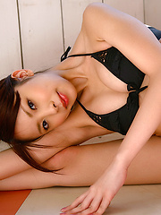 Mayu Kanaoka Asian with big tits in white lingerie poses so hot